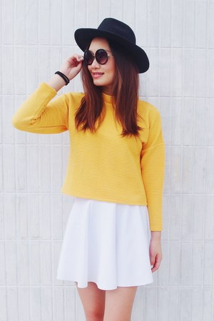 gold Monki sweater - black H&M hat - purple Monki glasses - white skirt