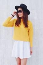 gold Monki sweater - black H&M hat - purple Monki glasses - white skirt