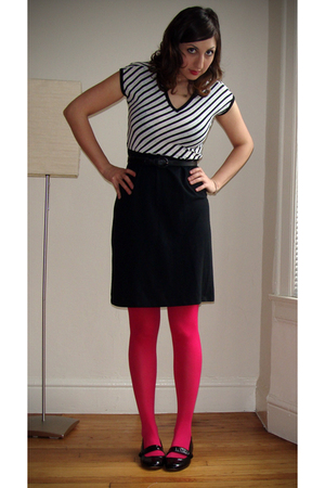 black FCUK shoes - pink Target stockings - black vintage from Wasteland dress -
