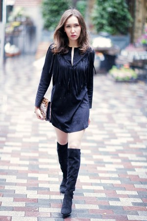 black suede Zara dress - black Zara boots - brown LK Bennett bag