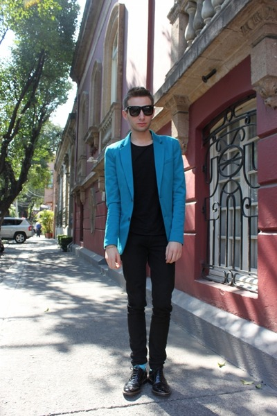 black Zara shoes - turquoise blue Zara blazer