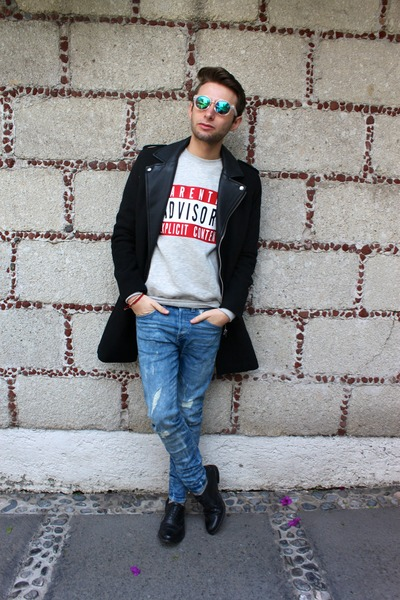 black H&M coat - blue H&M jeans - white H&M sunglasses - silver H&M sweatshirt