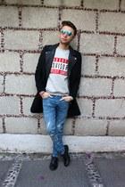 black H&M coat - blue H&M jeans - white H&M sunglasses - silver H&M sweatshirt