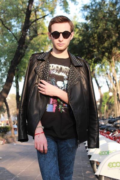 black Zara jacket - black balenciaga shirt