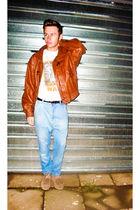 brown vintage jacket - blue Zara jeans