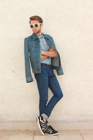 blue Zara jeans - black Yohi Yamamoto shoes - blue Topman jacket