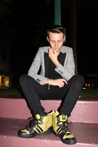 yellow Jeremy Scott shoes - silver Mango blazer