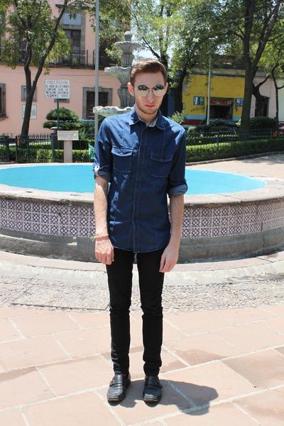 blue Zara shirt - silver vintage sunglasses