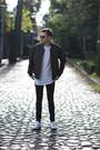 Forest-green-forever-21-jacket-white-pull-bear-shirt-white-adidas-sneakers