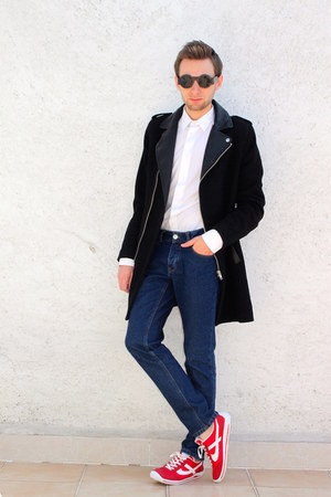 red panam shoes - black hm coat - blue Forever 21 jeans - white Zara shirt