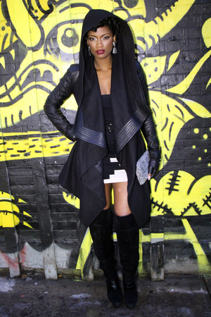 hooded leather Skingraft jacket - Bebe boots - the city chick dress