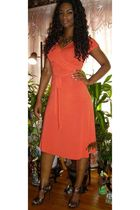 orange wrap banana republic dress - brown stiletto Bumper shoes