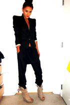 black Topshop pants - black Topshop blazer - beige Zara boots