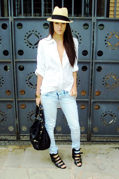 blue asos jeans - black asos shoes - white H&M shirt - black Topshop accessories