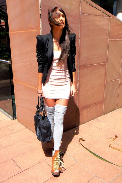 beige Primark dress - brown asos boots - black Topshop blazer - gray american am