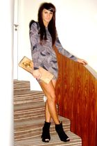 gray asos dress - black Topshop shoes - brown vivienne westwood accessories