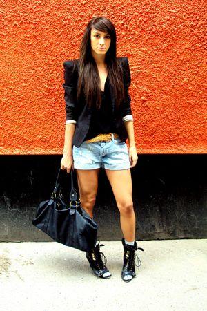 black Topshop boots - black Topshop jacket - blue H7M shorts