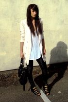 black Topshop leggings - black asos shoes - black Topshop accessories - beige H&