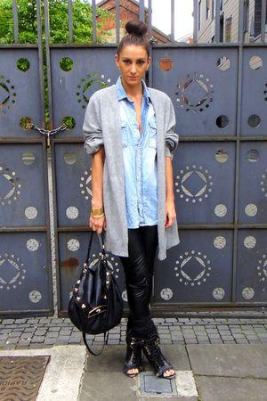 black Topshop boots - black Topshop leggings - blue H&M shirt