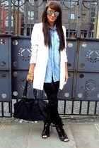 beige H&M blazer - black Jimmy Choo pants - black Topshop shoes - black Miu Miu