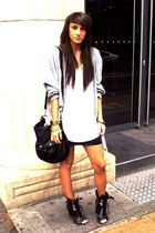white Topshop t-shirt - black Topshop skirt - black Topshop boots - black Topsho