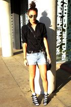 blue H&M shorts - black H&M shirt - black asoscom shoes