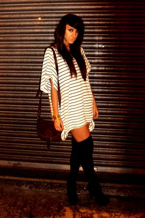 white H&M dress - black aa socks - brown vintage accessories - black Boohoocom b