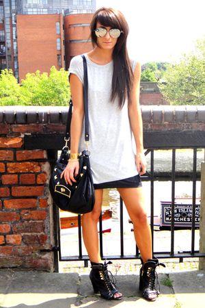 gray Topshop t-shirt - black Topshop skirt - black Topshop boots - black Topshop