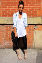 white Topshop t-shirt - beige wedges Zara boots - black Topshop leggings