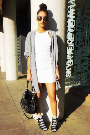 white Topshop dress - black asos shoes - black Topshop accessories