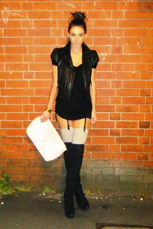 black Topshop boots - black Topshop jacket - black Topshop dress - white H&M acc