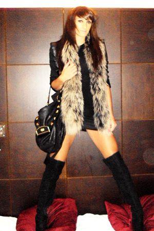 black Topshop boots - black Topshop dress - black Topshop jacket