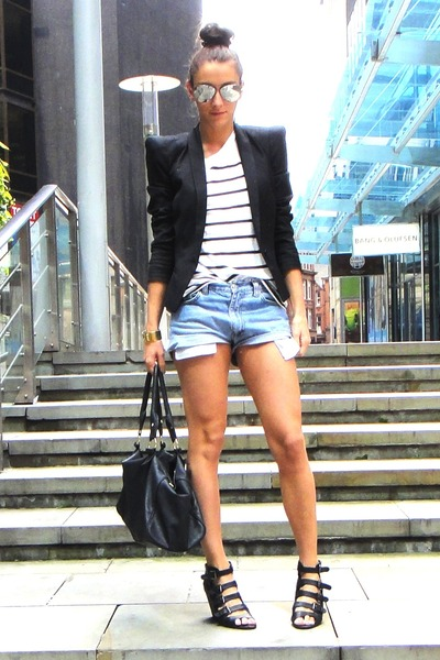 black asoscom shoes - blue Vintage Levis shorts - black Topshop jacket - white Z