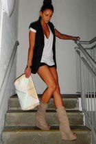 beige Zara boots - black Topshop shorts - black gestuz blazer - white H&M access
