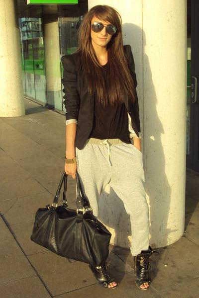 black Topshop shoes - black Topshop blazer - silver Topshop pants