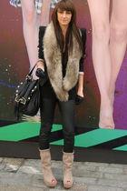 black Jimmy Choo for h&m panties - beige Zara shoes - black Topshop blazer - bro