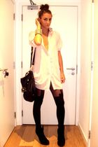 beige yuki shirt - black Henry Holland stockings - black asos shoes - black Tops