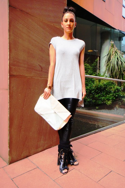 black Topshop boots - black Topshop leggings - gray Topshop t-shirt