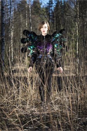 black fur butterfly Nikoline Liv Andersen jacket