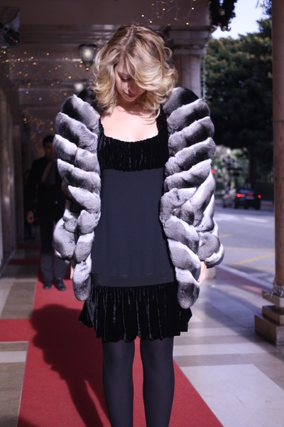 black chinchilla fur Carlo Ramello coat - black velvet and silk Moschino dress