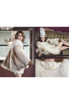 tan fur Saga Furs jacket - beige Manoush dress