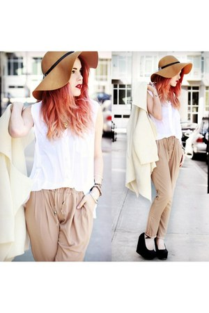 ivory romwe coat - white Chicwish blouse - light brown pants