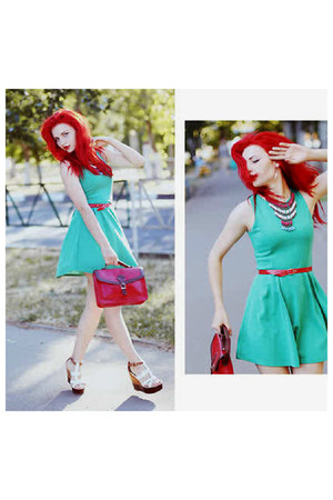 red bag - aquamarine dress