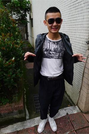 boycott jacket - YSL sunglasses - Uniqlo belt