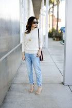 ivory cotton sweater madewell sweater - light blue boyfriend jeans H&M jeans