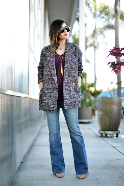 dark gray H&M coat - maroon SANDRO t-shirt - black Celine glasses