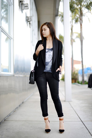 black wilfred blazer - black Charles & Keith bag - tawny Jeffrey Campbell heels