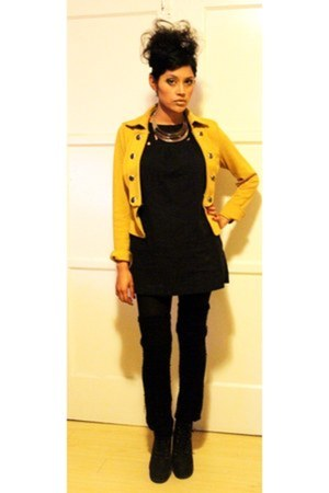 forever 21 dress - military jacket jacket - forever 21 tights