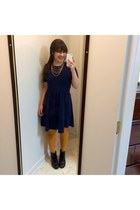 gray combat boots Steve Madden boots - navy cotton on dress