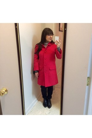 red coat - black leather Urban Outfitters boots - black Forever 21 shirt